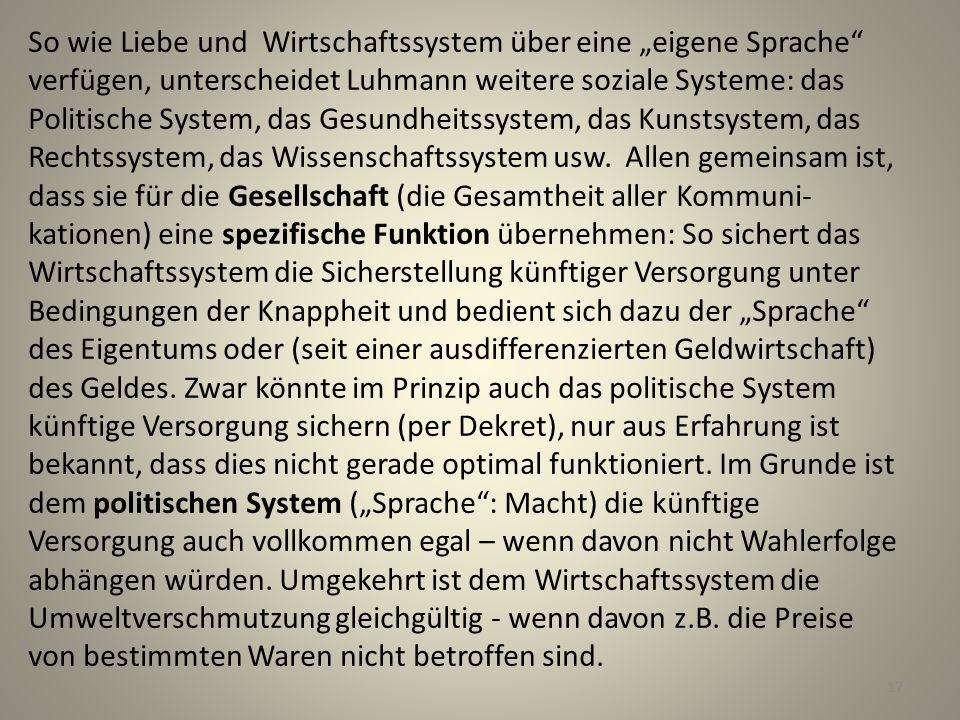 """So wie Liebe und Wirtschaftssystem über eine """"eigene Sprache verfügen, unterscheidet Luhmann weitere soziale Systeme: das Politische System, das Gesundheitssystem, das Kunstsystem, das Rechtssystem, das Wissenschaftssystem usw."""
