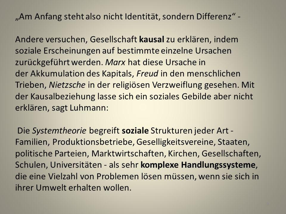"""""""Am Anfang steht also nicht Identität, sondern Differenz - Andere versuchen, Gesellschaft kausal zu erklären, indem soziale Erscheinungen auf bestimmte einzelne Ursachen zurückgeführt werden."""