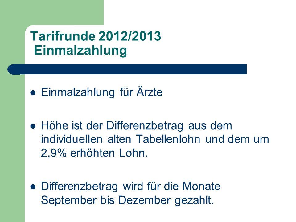 Tarifrunde 2012/2013 Sonderzahlung Sonderzahlung für Ärzte Höhe 440 € Voraussetzung ist, dass der Arzt im Januar 2012 beschäftigt war und immer noch im Dienstverhältnis steht.