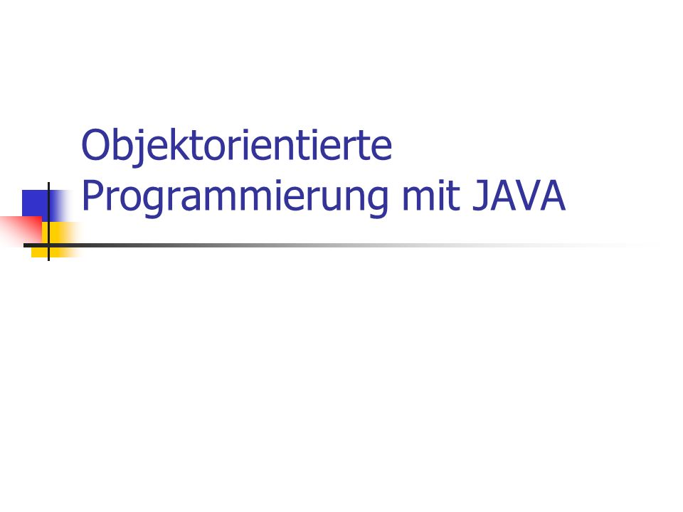 © till.haenisch@gmx.de Default-Sichtbarkeit Im Gegensatz zu C++ ist der default Sichtbarkeit im package public class Point { int x; int y; void setX( int d) { x = d; } // Rest der Klassendefinition } Package bedeutet im wesentlichen alle Dateien in einem Unterverzeichnis Andere Klassen im selben package können auf diese Variablen zugreifen