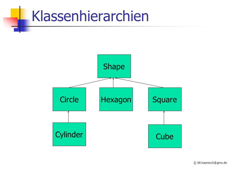 © till.haenisch@gmx.de Klassenhierarchien Shape CircleHexagonSquare Cylinder Cube