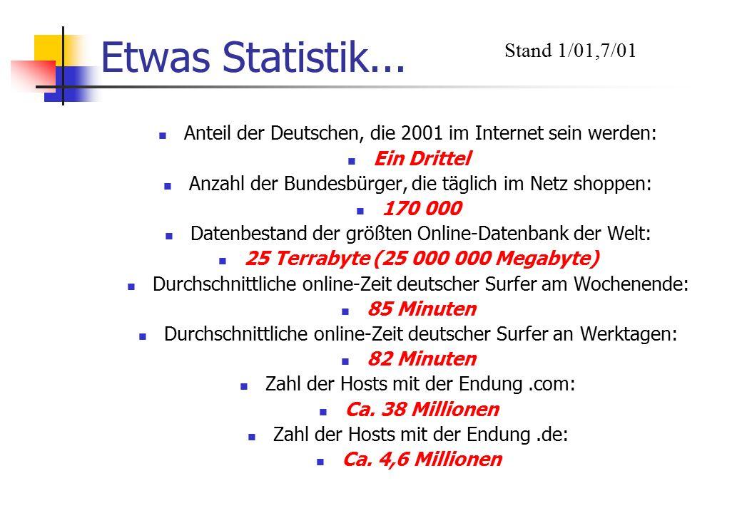 Etwas Statistik... Anteil der Deutschen, die 2001 im Internet sein werden: Ein Drittel Anzahl der Bundesbürger, die täglich im Netz shoppen: 170 000 D