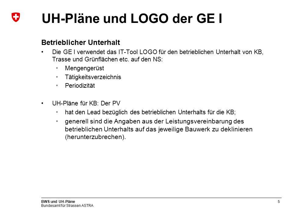 Bundesamt für Strassen ASTRA BWS und UH-Pläne5 UH-Pläne und LOGO der GE I Betrieblicher Unterhalt Die GE I verwendet das IT-Tool LOGO für den betrieblichen Unterhalt von KB, Trasse und Grünflächen etc.