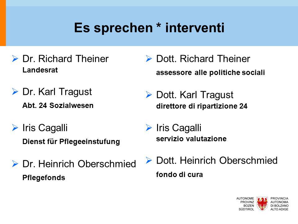 Es sprechen * interventi  Dr. Richard Theiner Landesrat  Dr.