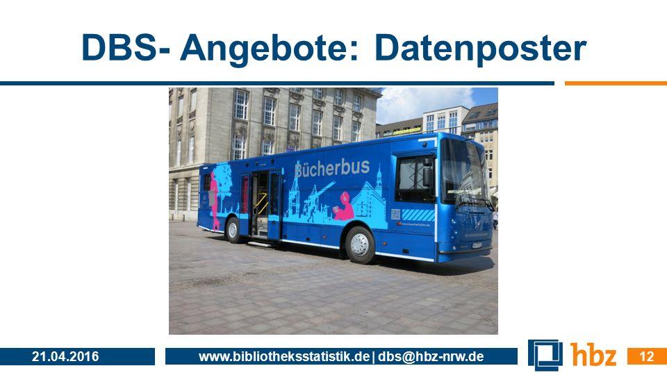 DBS- Angebote: Datenposter 21.04.2016 www.bibliotheksstatistik.de | dbs@hbz-nrw.de 12