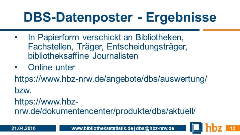DBS-Datenposter - Ergebnisse In Papierform verschickt an Bibliotheken, Fachstellen, Träger, Entscheidungsträger, bibliotheksaffine Journalisten Online