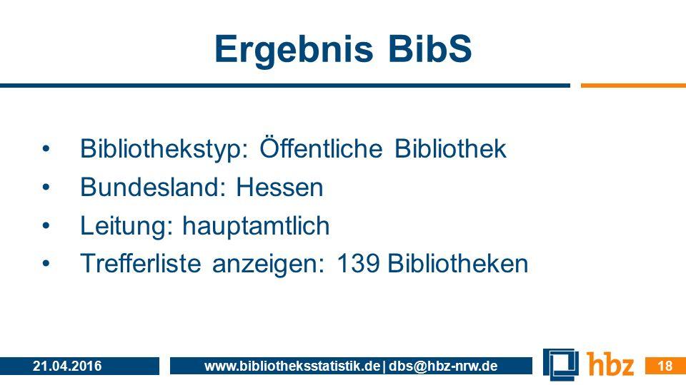 Ergebnis BibS Bibliothekstyp: Öffentliche Bibliothek Bundesland: Hessen Leitung: hauptamtlich Trefferliste anzeigen: 139 Bibliotheken 21.04.2016 www.b