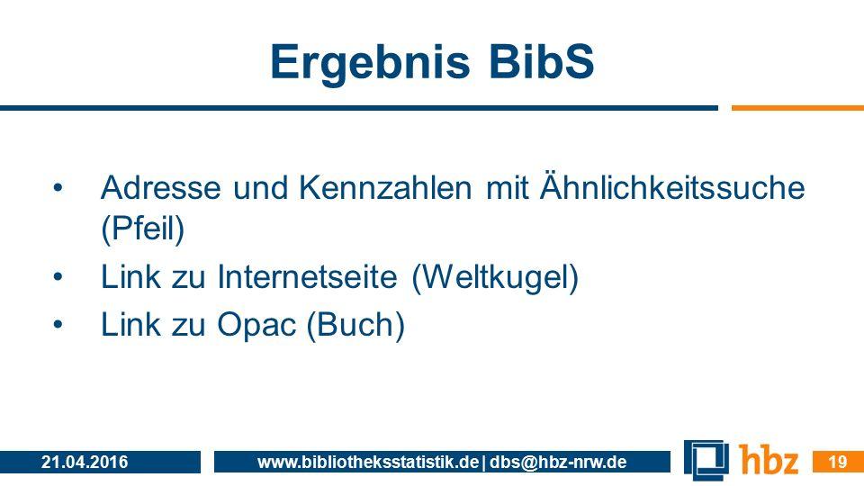 Ergebnis BibS Adresse und Kennzahlen mit Ähnlichkeitssuche (Pfeil) Link zu Internetseite (Weltkugel) Link zu Opac (Buch) 21.04.2016 www.bibliothekssta