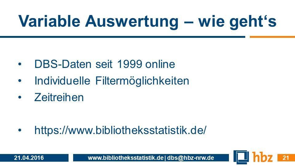 Variable Auswertung – wie geht's DBS-Daten seit 1999 online Individuelle Filtermöglichkeiten Zeitreihen https://www.bibliotheksstatistik.de/ 21.04.201