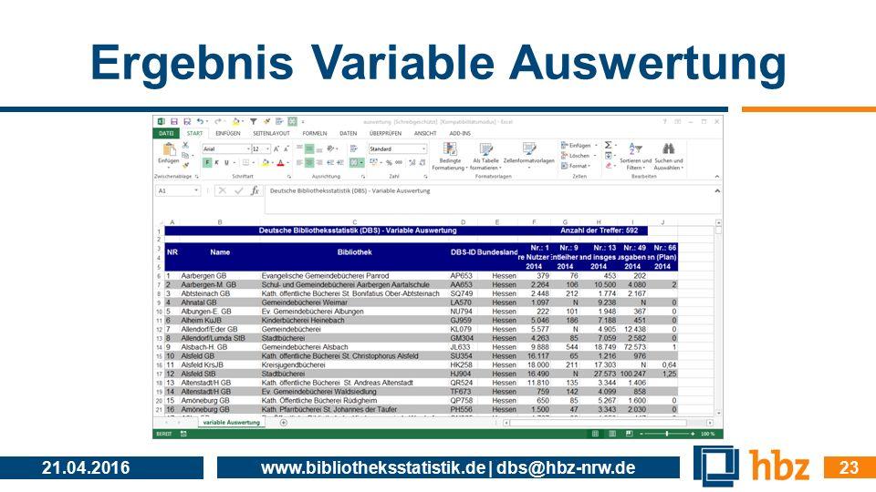 Ergebnis Variable Auswertung 21.04.2016 www.bibliotheksstatistik.de | dbs@hbz-nrw.de 23