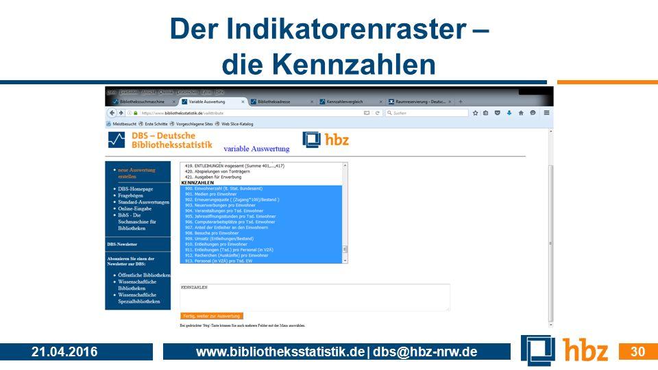 Der Indikatorenraster – die Kennzahlen 21.04.2016 www.bibliotheksstatistik.de | dbs@hbz-nrw.de 30