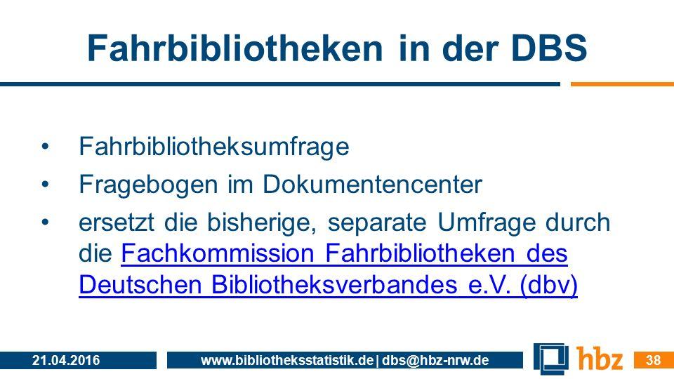 Fahrbibliotheken in der DBS Fahrbibliotheksumfrage Fragebogen im Dokumentencenter ersetzt die bisherige, separate Umfrage durch die Fachkommission Fah