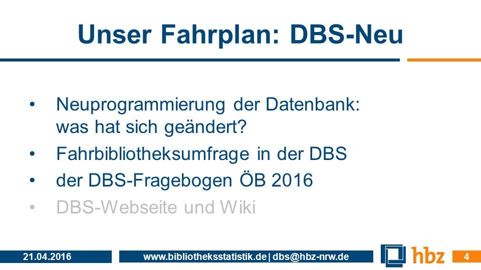 Unser Fahrplan: DBS-Neu Neuprogrammierung der Datenbank: was hat sich geändert? Fahrbibliotheksumfrage in der DBS der DBS-Fragebogen ÖB 2016 DBS-Webse