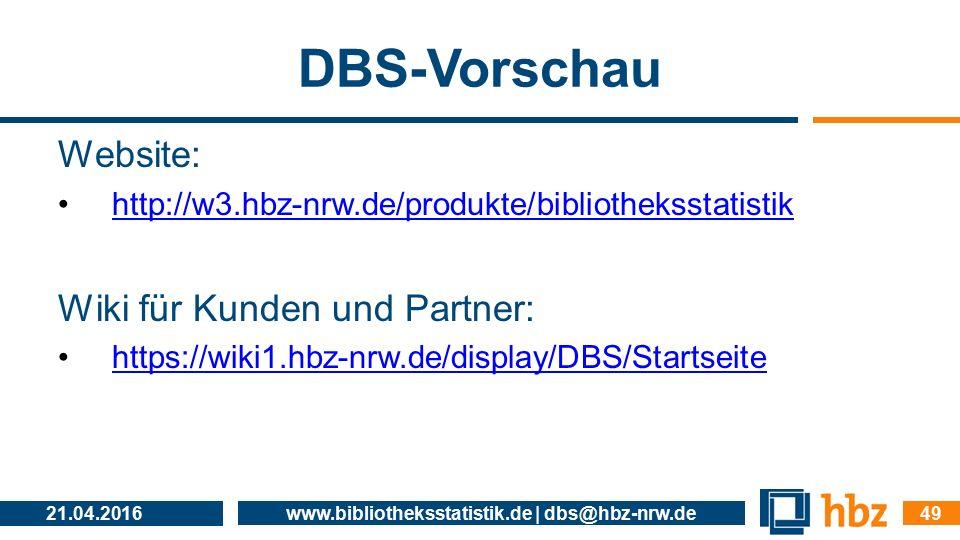 DBS-Vorschau Website: http://w3.hbz-nrw.de/produkte/bibliotheksstatistik Wiki für Kunden und Partner: https://wiki1.hbz-nrw.de/display/DBS/Startseite