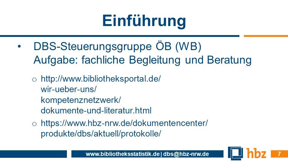 Einführung DBS-Steuerungsgruppe ÖB (WB) Aufgabe: fachliche Begleitung und Beratung o http://www.bibliotheksportal.de/ wir-ueber-uns/ kompetenznetzwerk