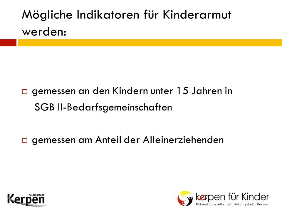Mögliche Indikatoren für Kinderarmut werden:  gemessen an den Kindern unter 15 Jahren in SGB II-Bedarfsgemeinschaften  gemessen am Anteil der Allein