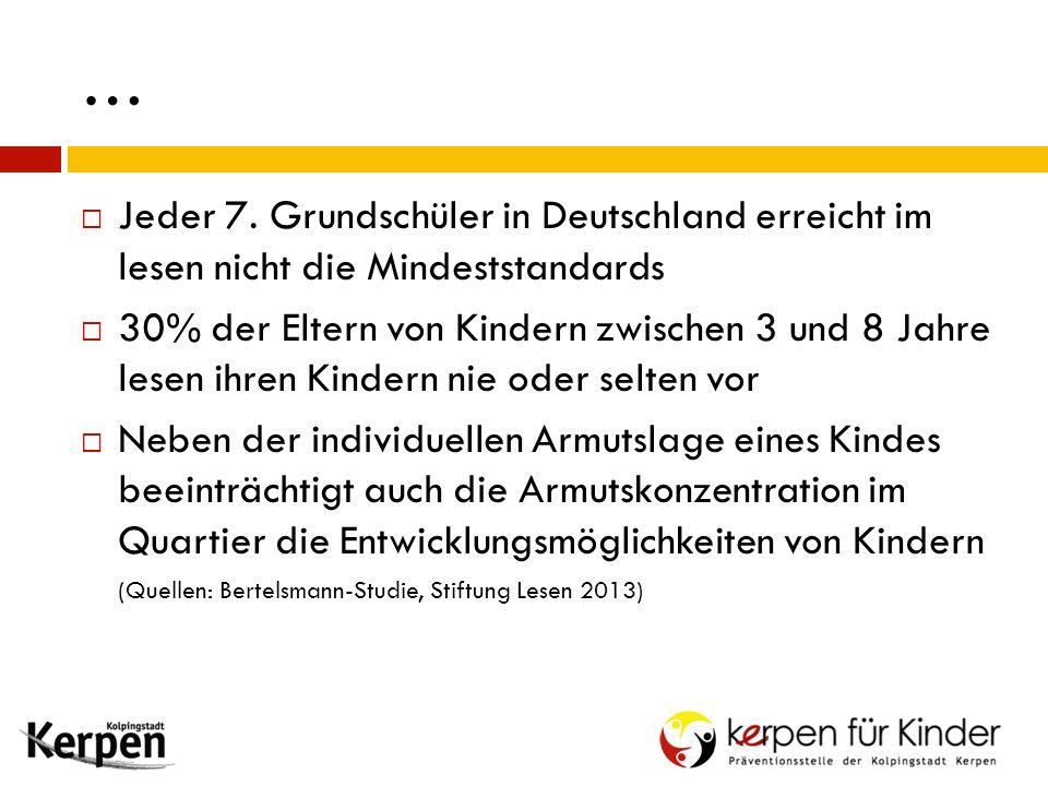 …  Jeder 7. Grundschüler in Deutschland erreicht im lesen nicht die Mindeststandards  30% der Eltern von Kindern zwischen 3 und 8 Jahre lesen ihren
