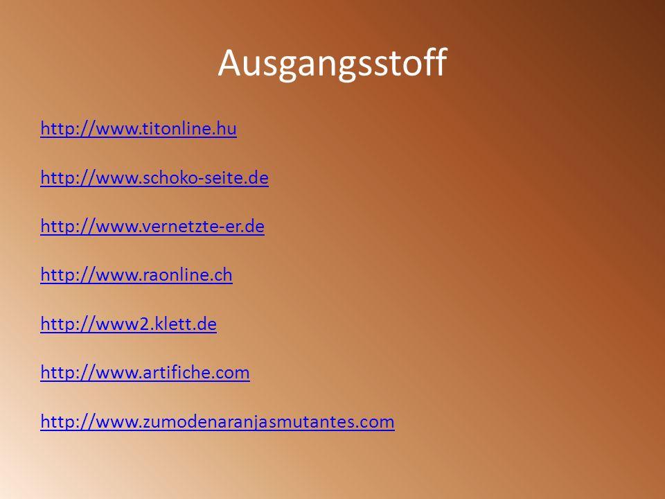 Ausgangsstoff http://www.titonline.hu http://www.schoko-seite.de http://www.vernetzte-er.de http://www.raonline.ch http://www2.klett.de http://www.art