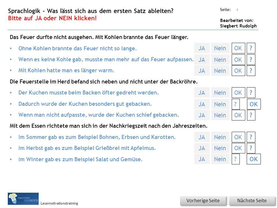 Übungsart: Seite: Bearbeitet von: Siegbert Rudolph Lesemotivationstraining Sprachlogik – Was lässt sich aus dem ersten Satz ableiten.