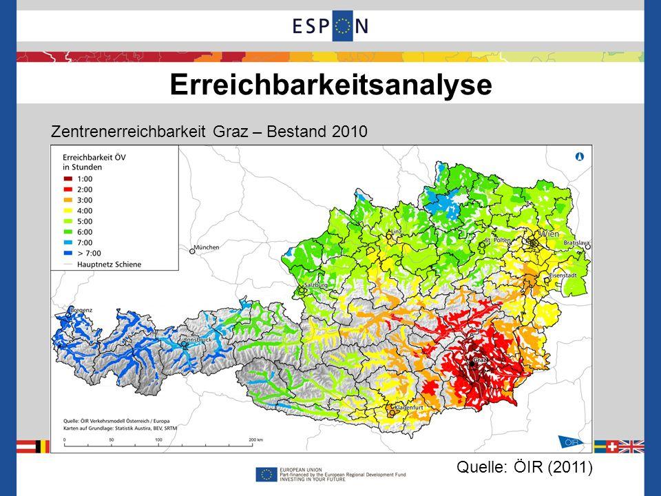 Erreichbarkeitsanalyse 8 Zentrenerreichbarkeit Graz – Bestand 2010 Quelle: ÖIR (2011)