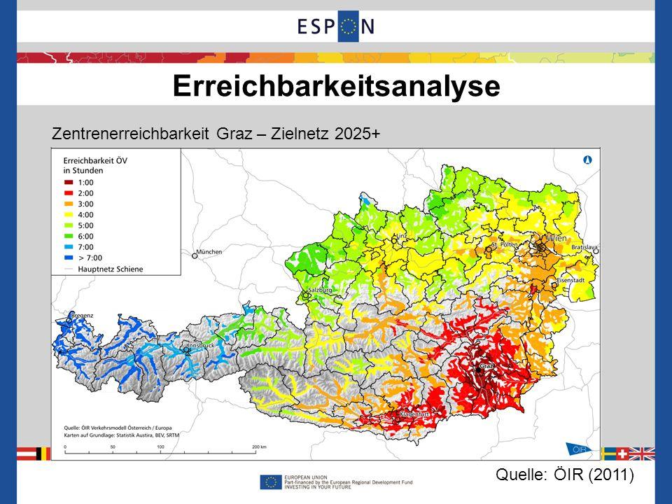Erreichbarkeitsanalyse 10 Zentrenerreichbarkeit Graz – Veränderung durch Zielnetz 2025 Quelle: ÖIR (2011)