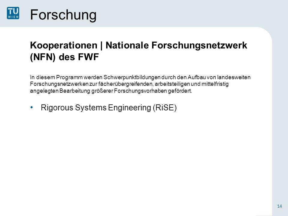 Forschung Kooperationen | Nationale Forschungsnetzwerk (NFN) des FWF In diesem Programm werden Schwerpunktbildungen durch den Aufbau von landesweiten Forschungsnetzwerken zur fächerübergreifenden, arbeitsteiligen und mittelfristig angelegten Bearbeitung größerer Forschungsvorhaben gefördert.