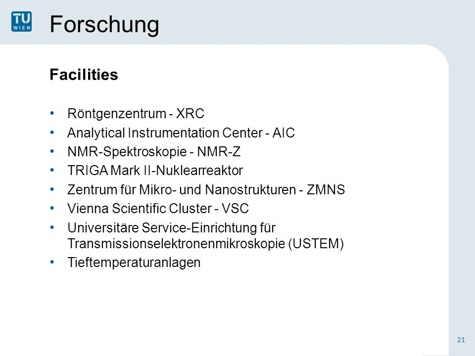 Forschung Facilities Röntgenzentrum - XRC Analytical Instrumentation Center - AIC NMR-Spektroskopie - NMR-Z TRIGA Mark II-Nuklearreaktor Zentrum für M