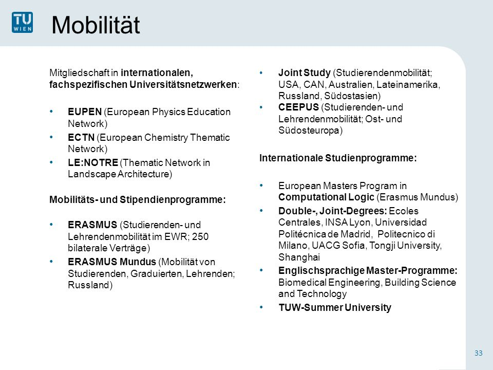 Mobilität Mitgliedschaft in internationalen, fachspezifischen Universitätsnetzwerken: EUPEN (European Physics Education Network) ECTN (European Chemis