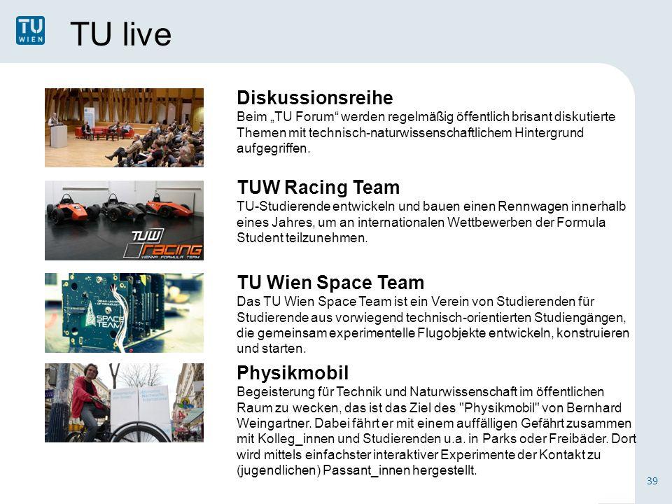 """TU live Diskussionsreihe Beim """"TU Forum werden regelmäßig öffentlich brisant diskutierte Themen mit technisch-naturwissenschaftlichem Hintergrund aufgegriffen."""