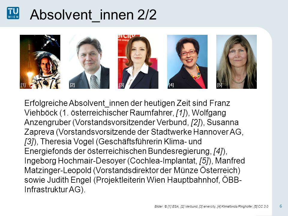 Absolvent_innen 2/2 6 Erfolgreiche Absolvent_innen der heutigen Zeit sind Franz Viehböck (1.