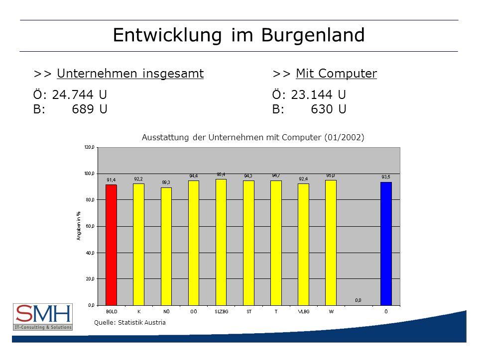 Entwicklung im Burgenland >> Unternehmen insgesamt>> Mit Computer Ö: 24.744 UÖ: 23.144 U B: 689 U B: 630 U Ausstattung der Unternehmen mit Computer (01/2002) Quelle: Statistik Austria