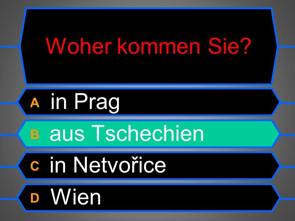 Wo wohnt deine Tante? A In Bern. B Aus der Schweiz. C Ich wohne in Wien. D Am Donnerstag.