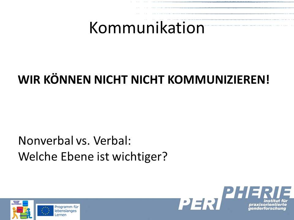 Kommunikation WIR KÖNNEN NICHT NICHT KOMMUNIZIEREN! Nonverbal vs. Verbal: Welche Ebene ist wichtiger?