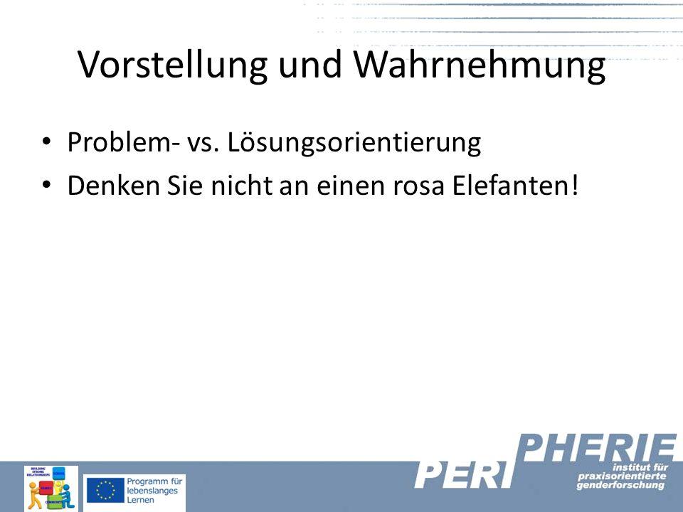 Vorstellung und Wahrnehmung Problem- vs. Lösungsorientierung Denken Sie nicht an einen rosa Elefanten!