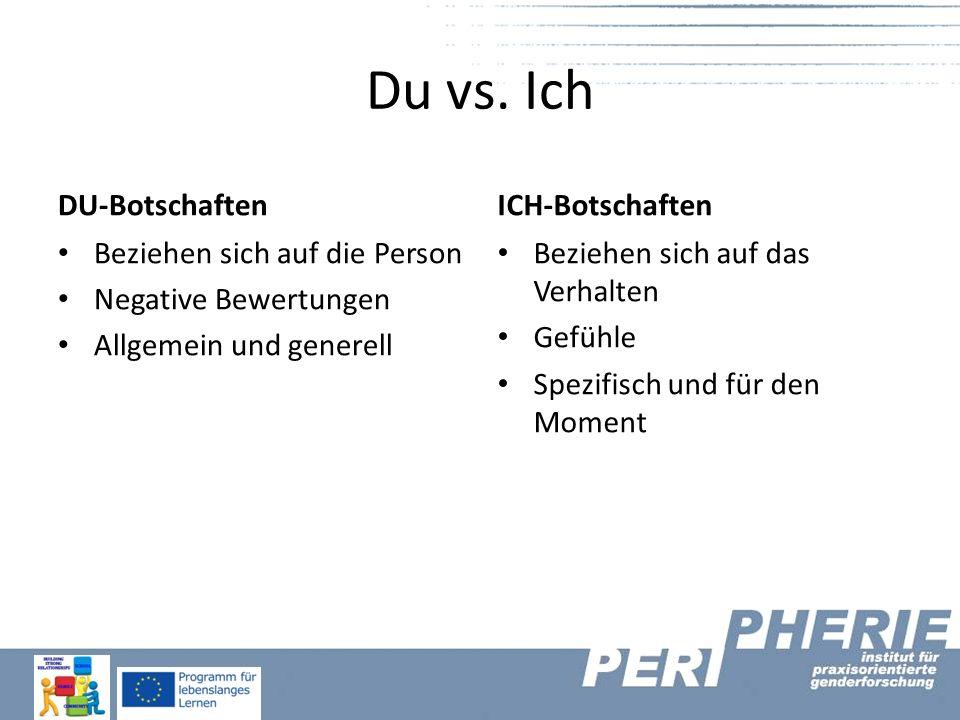 Du vs. Ich DU-Botschaften Beziehen sich auf die Person Negative Bewertungen Allgemein und generell ICH-Botschaften Beziehen sich auf das Verhalten Gef