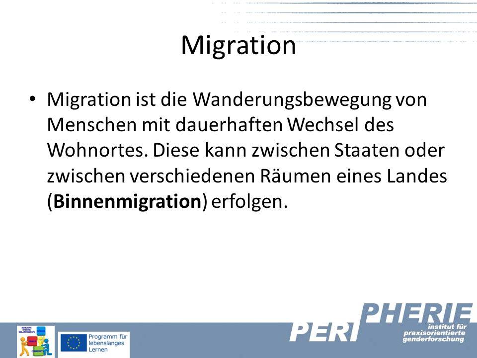 Migration Migration ist die Wanderungsbewegung von Menschen mit dauerhaften Wechsel des Wohnortes. Diese kann zwischen Staaten oder zwischen verschied