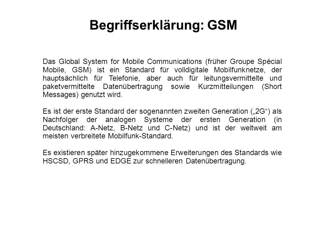 Das Global System for Mobile Communications (früher Groupe Spécial Mobile, GSM) ist ein Standard für volldigitale Mobilfunknetze, der hauptsächlich fü