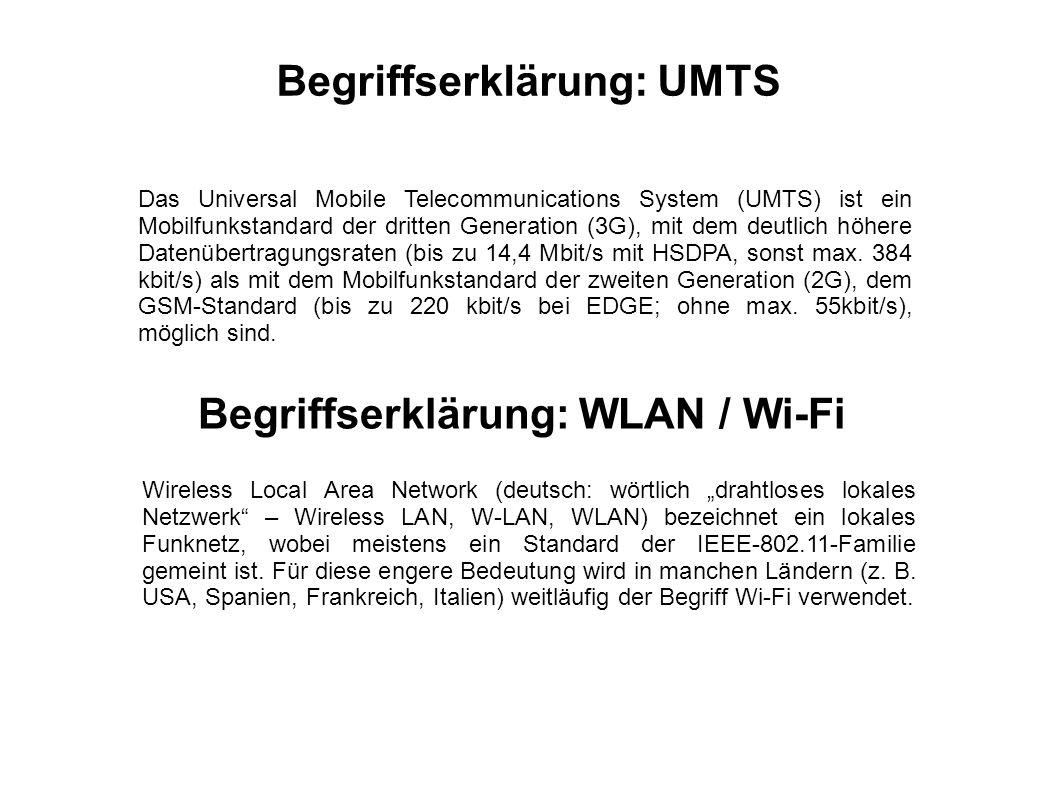 Das Universal Mobile Telecommunications System (UMTS) ist ein Mobilfunkstandard der dritten Generation (3G), mit dem deutlich höhere Datenübertragungs