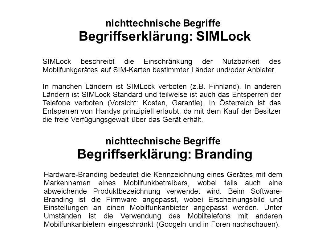 SIMLock beschreibt die Einschränkung der Nutzbarkeit des Mobilfunkgerätes auf SIM-Karten bestimmter Länder und/oder Anbieter. In manchen Ländern ist S