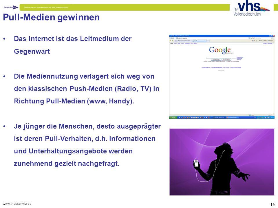 www.thessenvitz.de 15 Pull-Medien gewinnen Das Internet ist das Leitmedium der Gegenwart Die Mediennutzung verlagert sich weg von den klassischen Push-Medien (Radio, TV) in Richtung Pull-Medien (www, Handy).