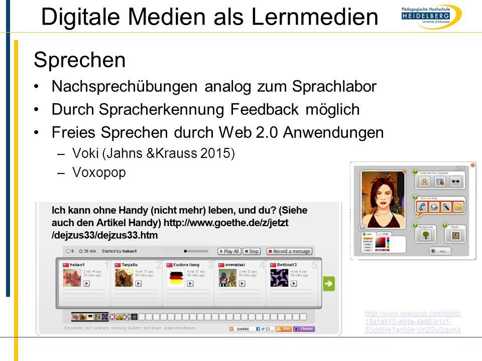 Name Digitale Medien als Lernmedien Sprechen Nachsprechübungen analog zum Sprachlabor Durch Spracherkennung Feedback möglich Freies Sprechen durch Web 2.0 Anwendungen –Voki (Jahns &Krauss 2015) –Voxopop http://www.voxopop.com/topic/ 18a1a815-ad4a-4ad8-b1cf- 83dd5fe7ac62#.VziZ2uQquK4