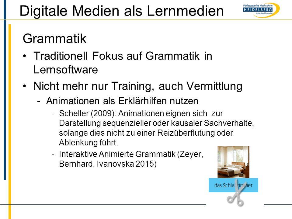 Name Digitale Medien als Lernmedien Grammatik Traditionell Fokus auf Grammatik in Lernsoftware Nicht mehr nur Training, auch Vermittlung -Animationen