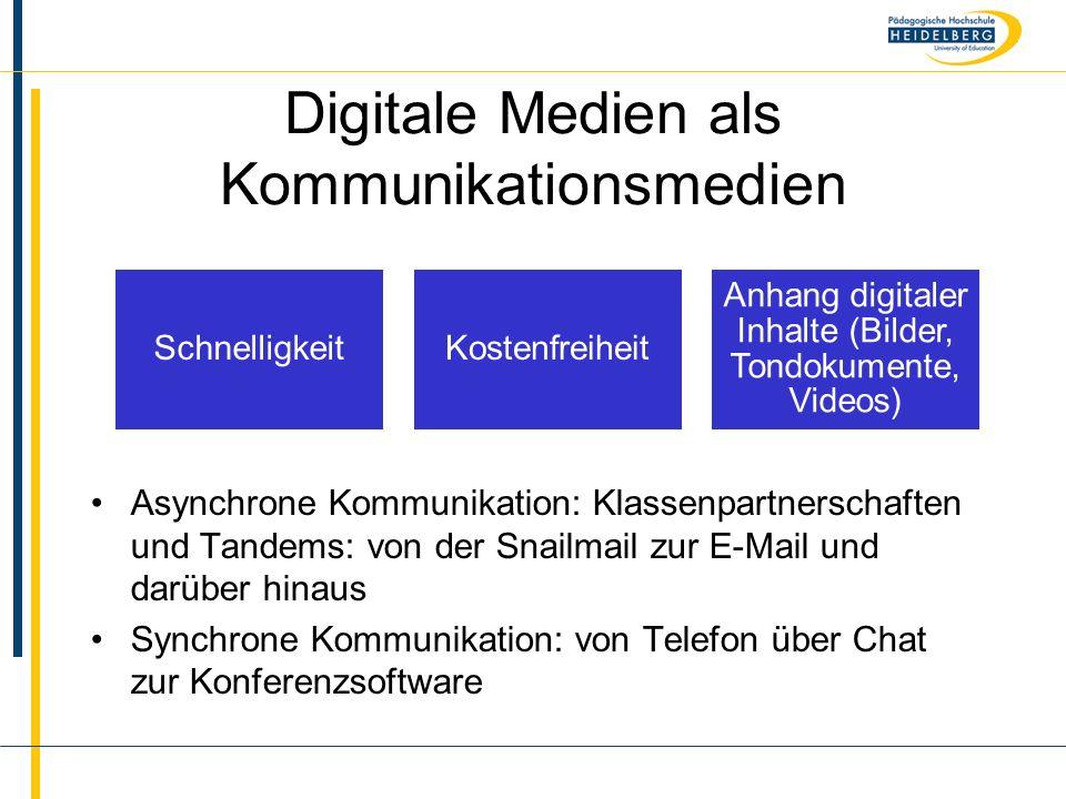 Name Digitale Medien als Kommunikationsmedien Asynchrone Kommunikation: Klassenpartnerschaften und Tandems: von der Snailmail zur E-Mail und darüber h
