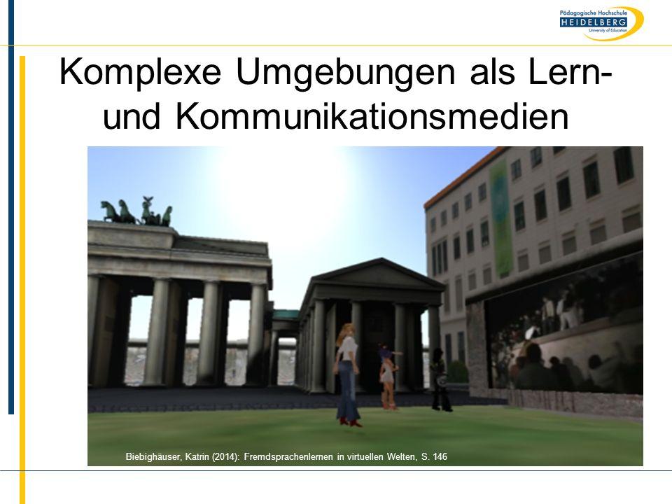 Name Komplexe Umgebungen als Lern- und Kommunikationsmedien Biebighäuser, Katrin (2014): Fremdsprachenlernen in virtuellen Welten, S. 146