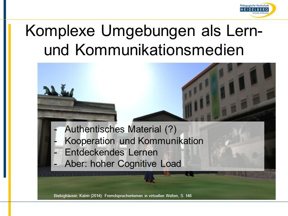 Name Komplexe Umgebungen als Lern- und Kommunikationsmedien Biebighäuser, Katrin (2014): Fremdsprachenlernen in virtuellen Welten, S. 146 -Authentisch