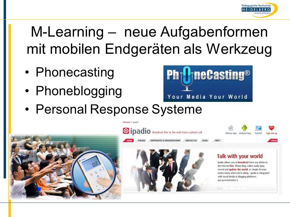 Name M-Learning – neue Aufgabenformen mit mobilen Endgeräten als Werkzeug Phonecasting Phoneblogging Personal Response Systeme