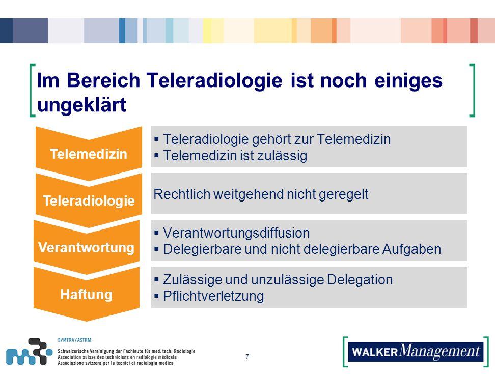 Im Bereich Teleradiologie ist noch einiges ungeklärt 7 Telemedizin Teleradiologie Verantwortung Haftung  Teleradiologie gehört zur Telemedizin  Telemedizin ist zulässig Rechtlich weitgehend nicht geregelt  Verantwortungsdiffusion  Delegierbare und nicht delegierbare Aufgaben  Zulässige und unzulässige Delegation  Pflichtverletzung