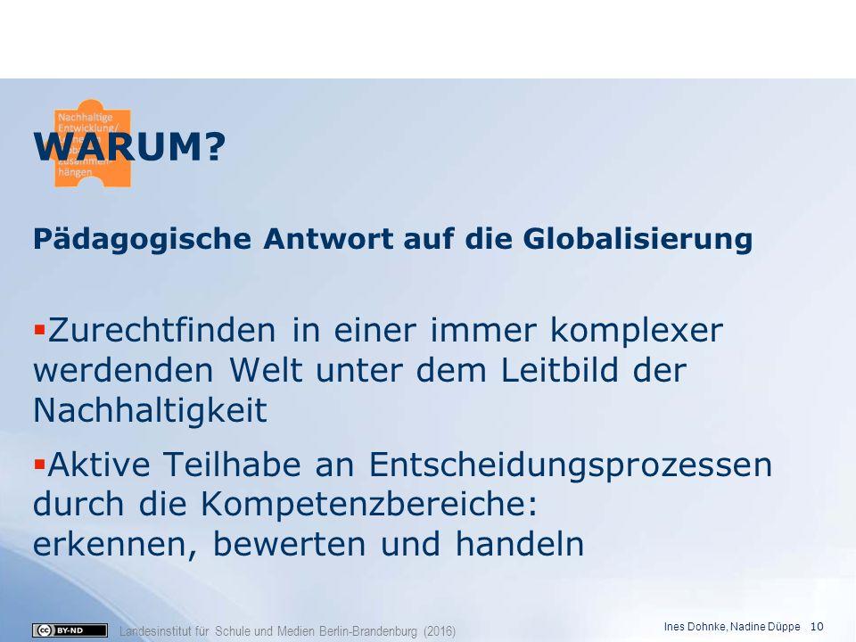 Landesinstitut für Schule und Medien Berlin-Brandenburg (2016) Pädagogische Antwort auf die Globalisierung  Zurechtfinden in einer immer komplexer we