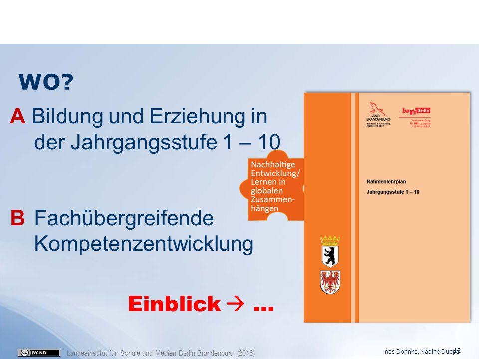 Landesinstitut für Schule und Medien Berlin-Brandenburg (2016) WO? A Bildung und Erziehung in der Jahrgangsstufe 1 – 10 B Fachübergreifende Kompetenze