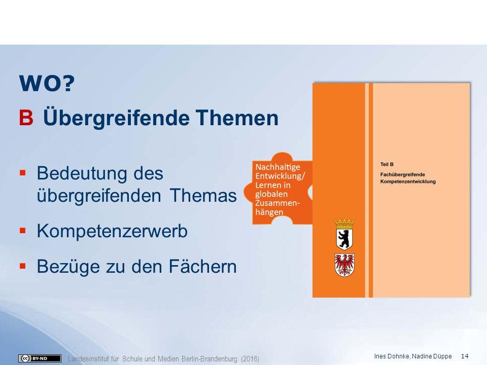 Landesinstitut für Schule und Medien Berlin-Brandenburg (2016) WO? B Übergreifende Themen  Bedeutung des übergreifenden Themas  Kompetenzerwerb  Be